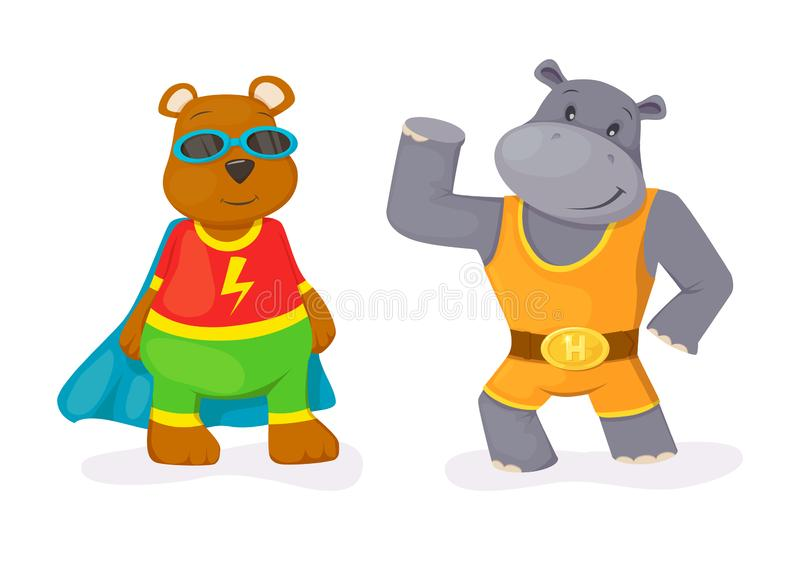 Superhero animal kids with a superhero cape and masks. Hippo and bear character in super hero costume vector illustration isolated vector illustration