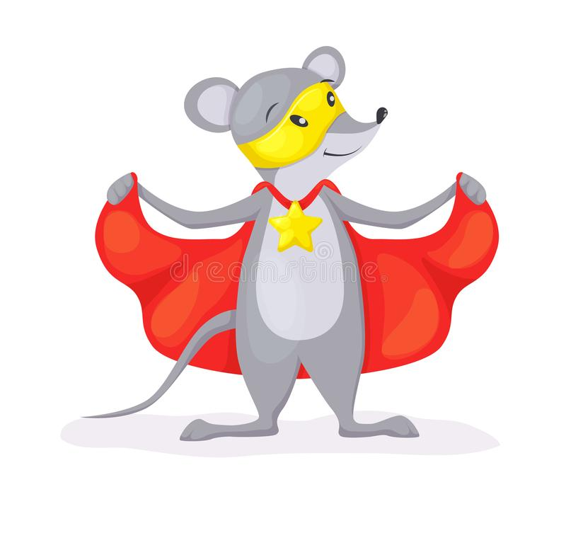 Superhero animal kids with a superhero cape and masks. Mouse character in super hero costume vector illustration isolated vector illustration