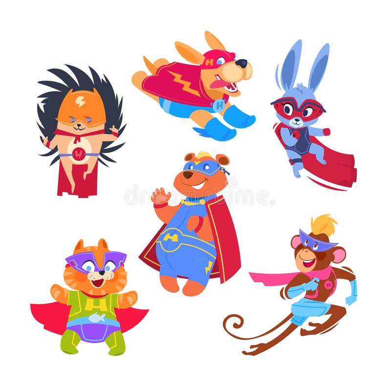 Superhero animal kids. Funny animals wearing superheroes costumes. Cosplay vector characters set. Illustration of protector and savior, hedgehog rabbit and vector illustration