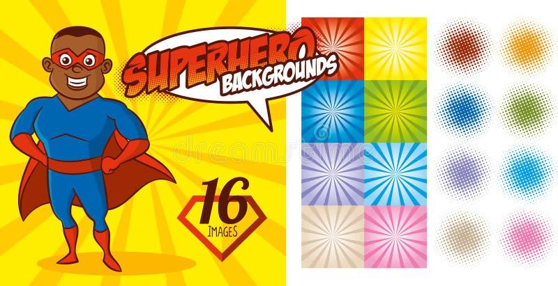 Superhero Background set Super hero character Vector royalty free illustration