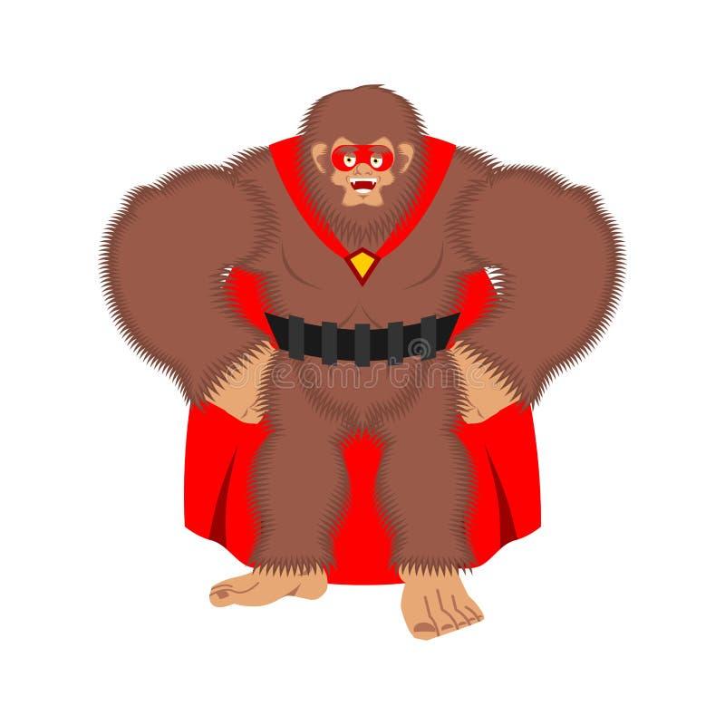 Superhero Bigfoot Έξοχο Yeti στη μάσκα και το αδιάβροχο Ισχυρό sasquatch ελεύθερη απεικόνιση δικαιώματος