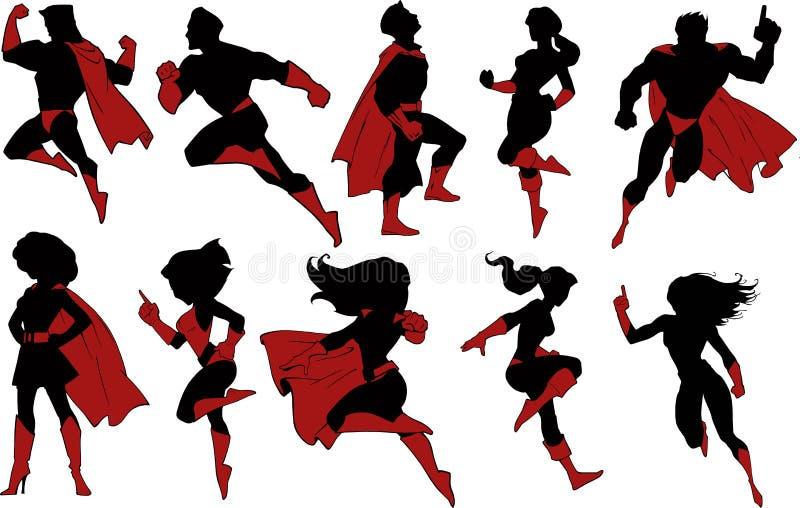 Superhero black silhouettes royalty free illustration
