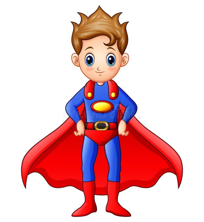 Superhero boy cartoon vector illustration