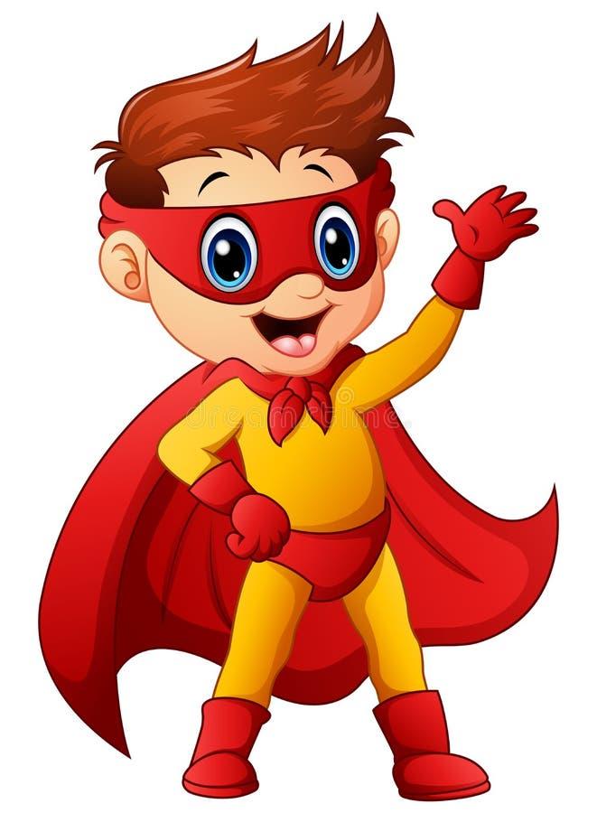 Superhero boy waving hand stock illustration