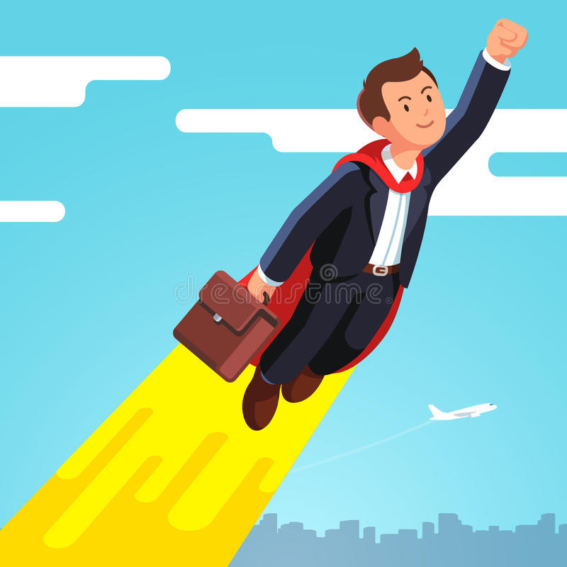 Superhero business man in cape flying in the sky. Superhero business man and leader in red cape flying fast in the sky like a rocket showing yes winner gestures stock illustration