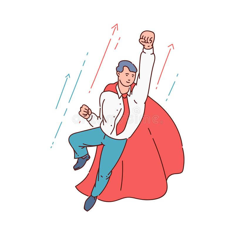 Superhero business man in office suit and red cape flying in confident pose with fist up vector illustration