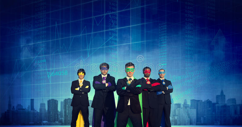 Superhero Business People Strength Cityscape Stock Exchange Conc royalty free stock images