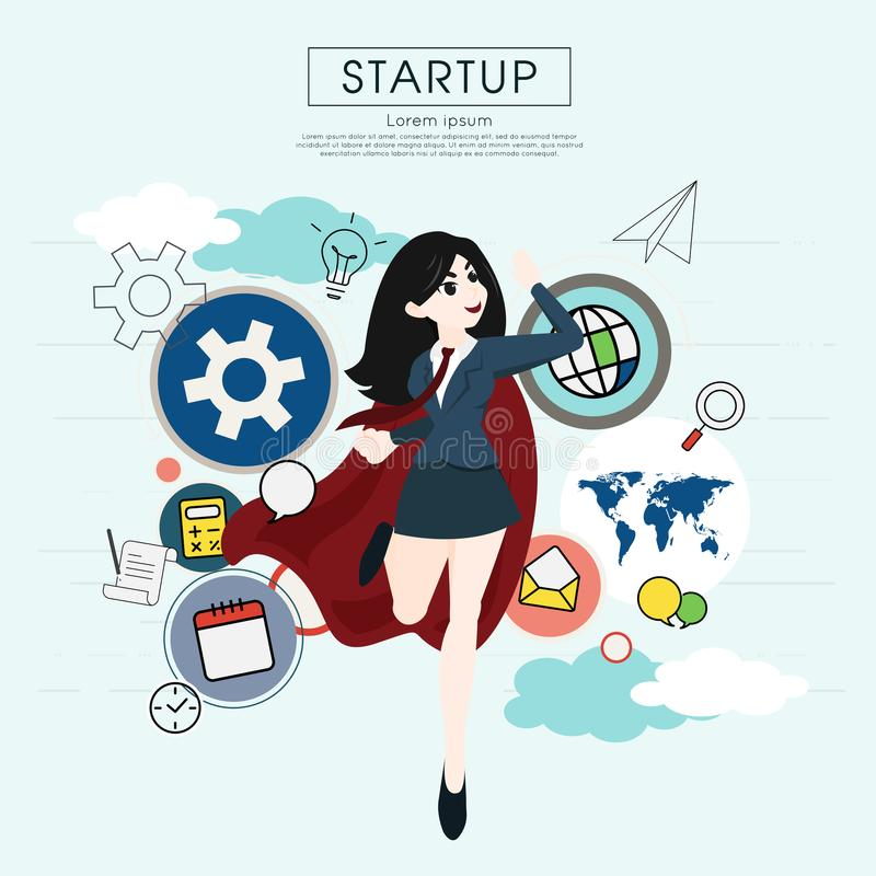 Superhero business woman cartoon for start up concept. Superhero business woman cartoon for start up concept vector illustration