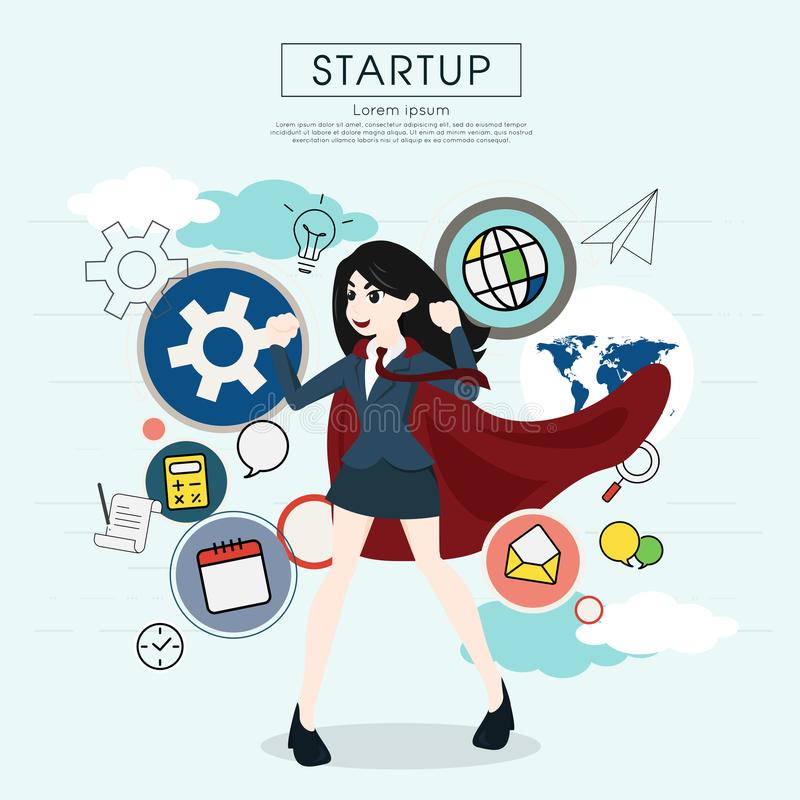 Superhero business woman cartoon for start up concept. Superhero business woman cartoon for start up concept royalty free illustration