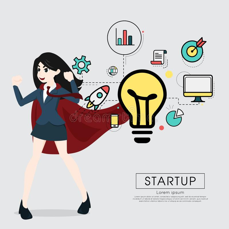 Superhero business woman cartoon for start up concept. Superhero business woman cartoon for start up concept stock illustration