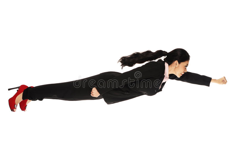 Superhero Business Woman Flying. Isolated over white background royalty free stock photos