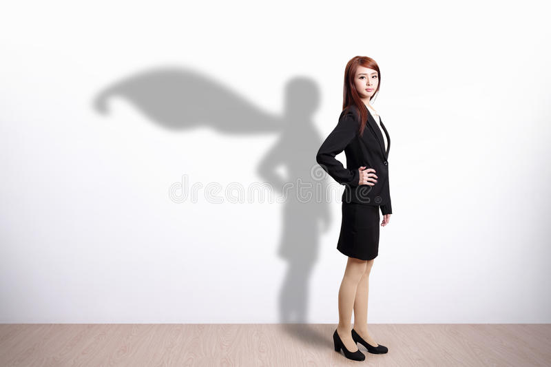 Superhero Business Woman. With white wall background, great for your design or text, asian stock photos