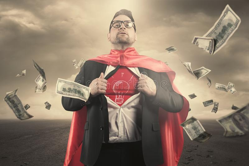 Superhero businessman concept stock image