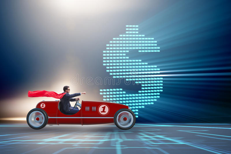 The superhero businessman driving vintage roadster stock photography