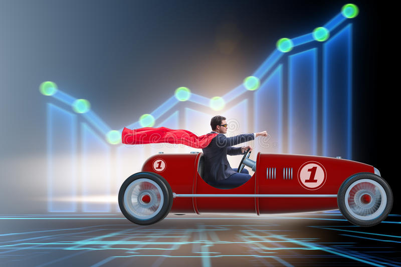 The superhero businessman driving vintage roadster. Superhero businessman driving vintage roadster royalty free stock photography