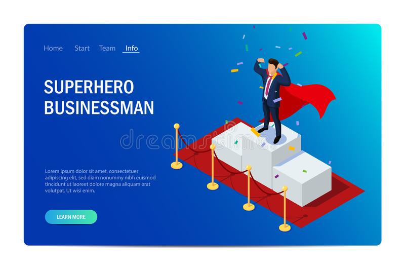 Superhero businessman or manager concept with characters. Can use for web banner, infographics, hero images. Flat isometric vector illustration isolated on royalty free illustration