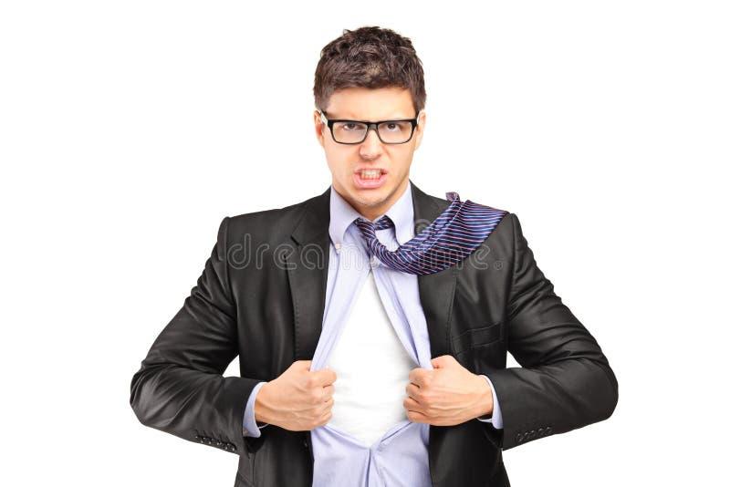 Superhero businessman opening blue shirt royalty free stock images