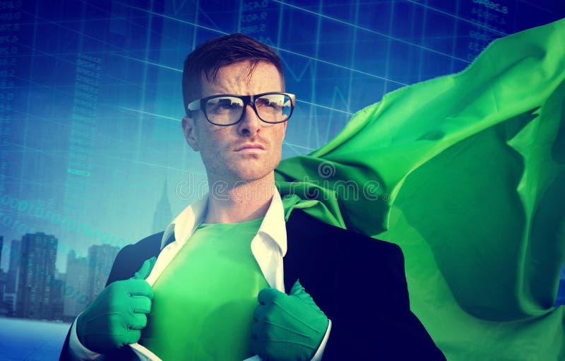 Superhero Businessman Strength Cityscape Stock Exchange Concept stock photos