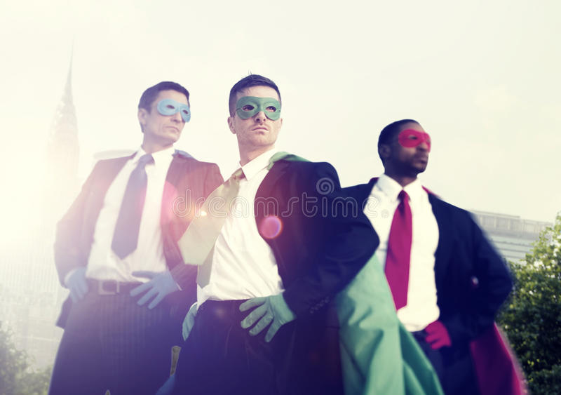 Superhero Businessmen Cityscape Team Concept.  royalty free stock image