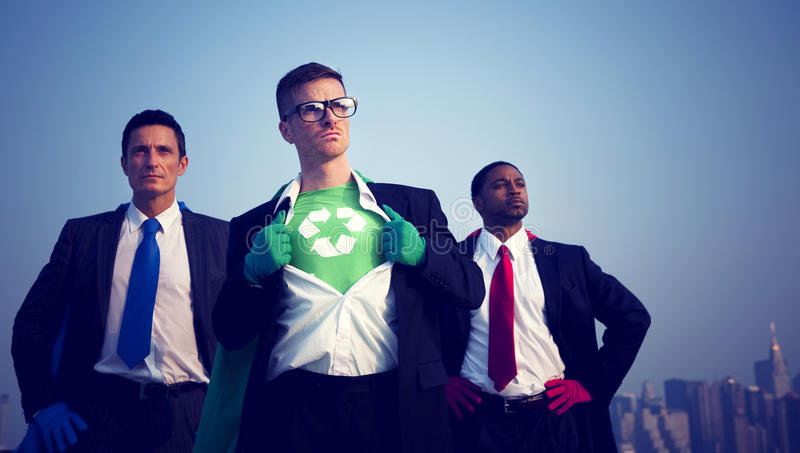 Superhero Businessmen Fighting for The Environment. Superhero businessmen fighting for the environement royalty free stock photo