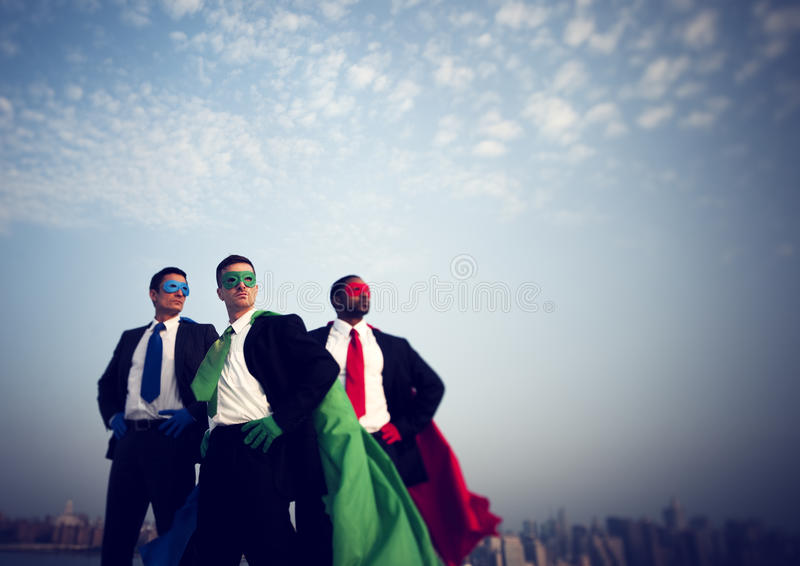Superhero Businessmen New York Inspiration Concept royalty free stock photography
