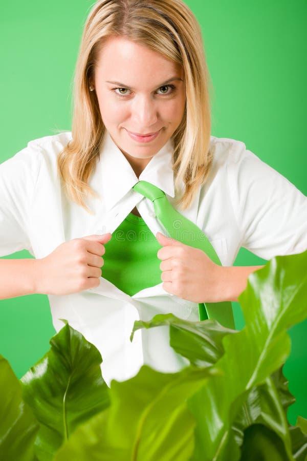 Download Superhero Businesswoman Confident Face Green Plant Stock Photo - Image of happy, change: 22463810