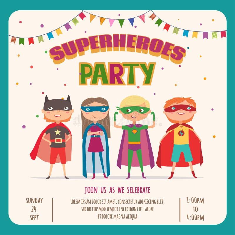 Superhero. Card invitation with group of cute kids stock illustration