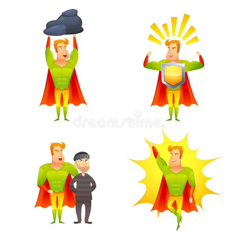 Superhero cartoon character power icons set royalty free illustration