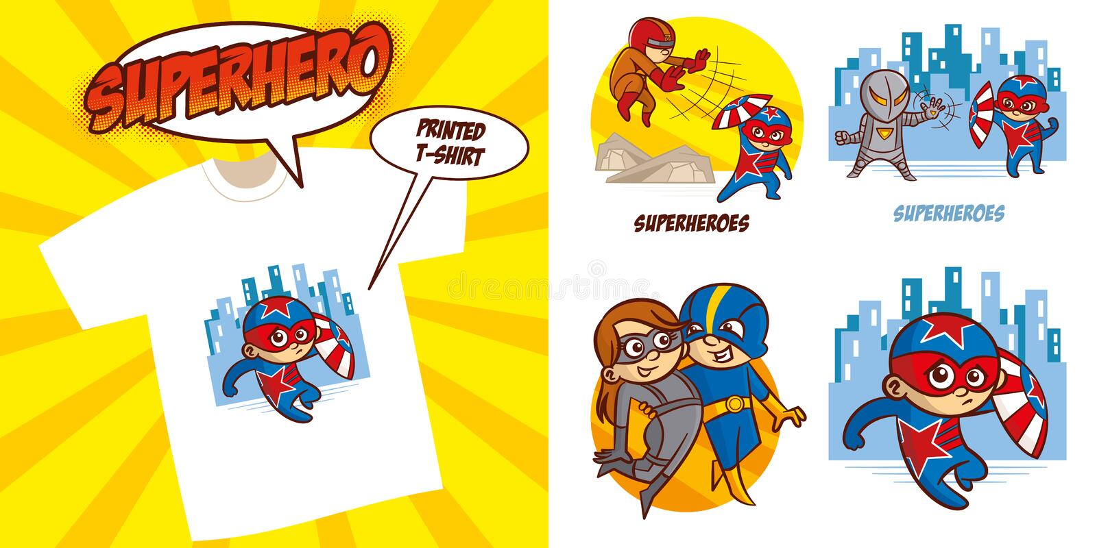 Superhero character Superheroes Set Vector illustration design. Superheroes Set Superhero character Vector illustration design for printed t-shirt stock illustration