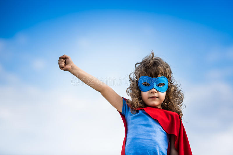 Superhero child stock photo
