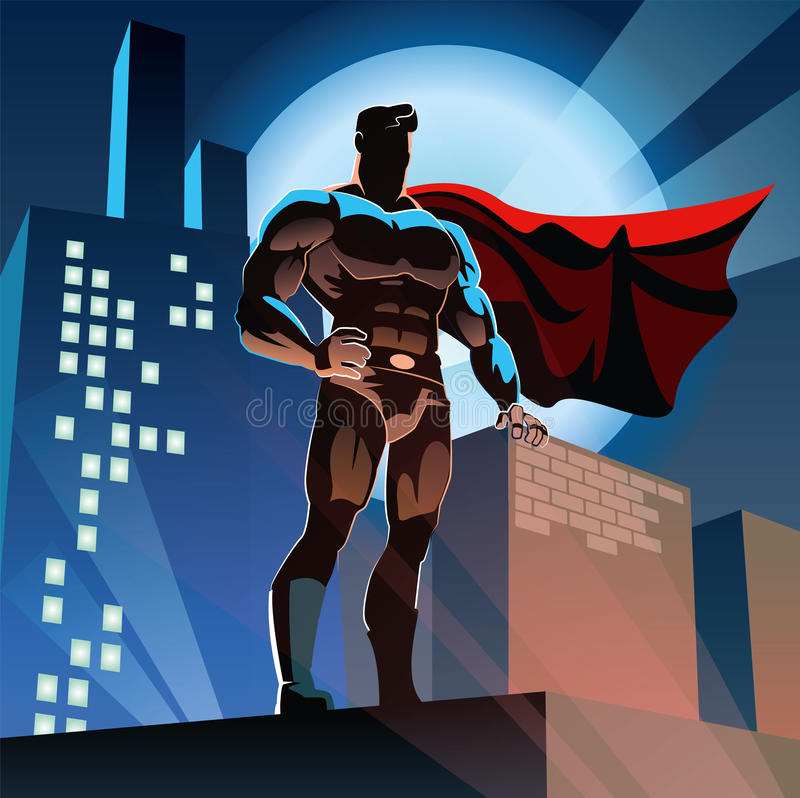Superhero in City stock illustration
