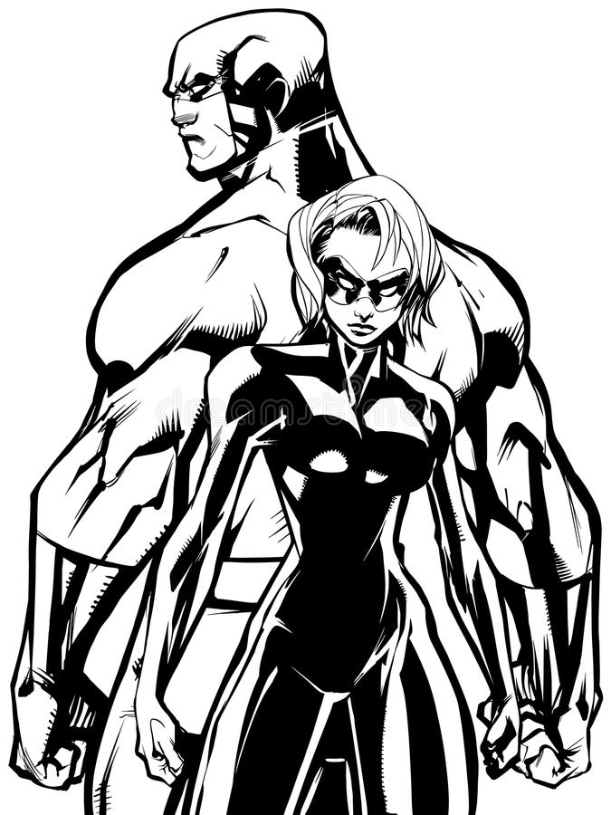 Superhero Couple Back to Back No Capes Line Art royalty free illustration