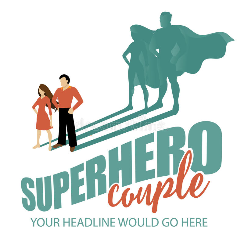 Superhero couple background vector illustration
