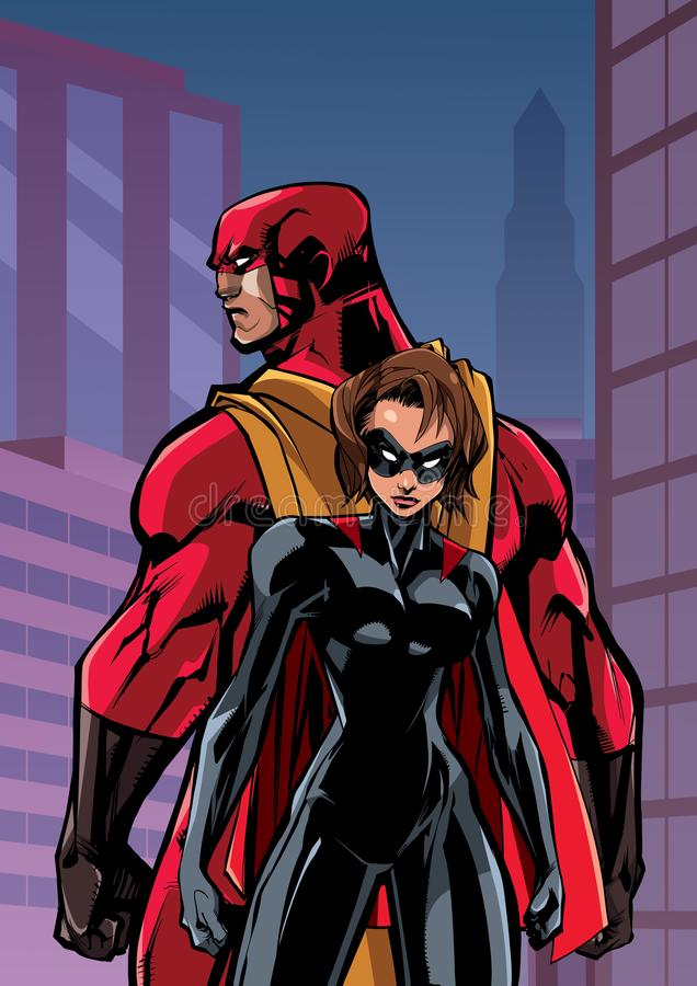 Superhero Couple in City vector illustration