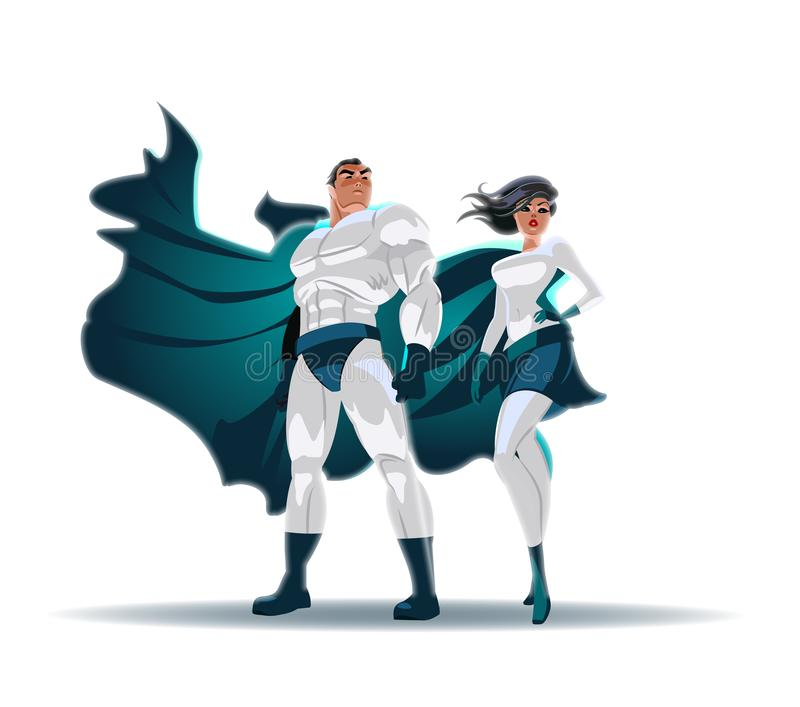 Superhero Couple: Male and female superheroes, posing in front of a light. Isolated royalty free illustration