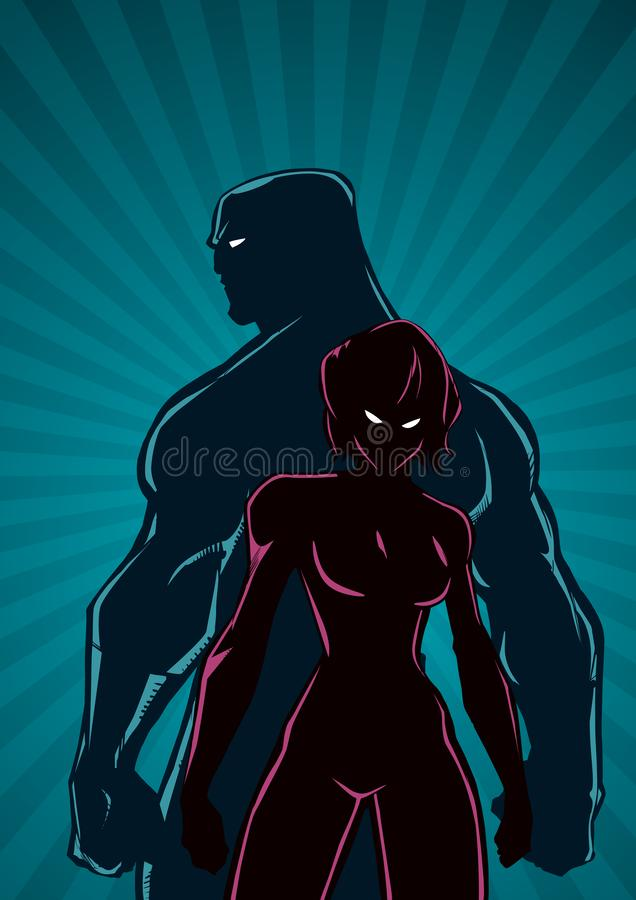 Superhero Couple Ray Light Vertical Silhouette royalty free illustration