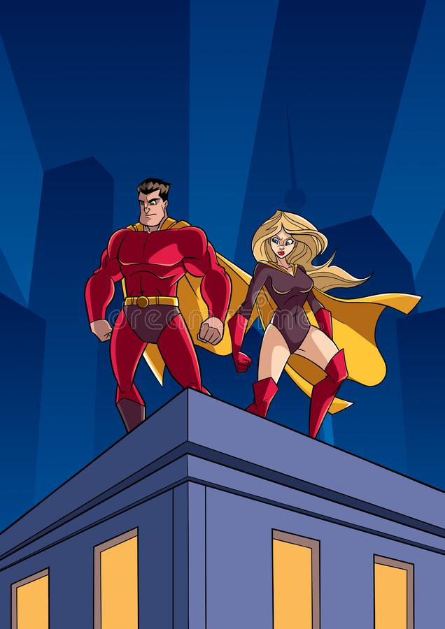 Superhero Couple Roof Watch vector illustration