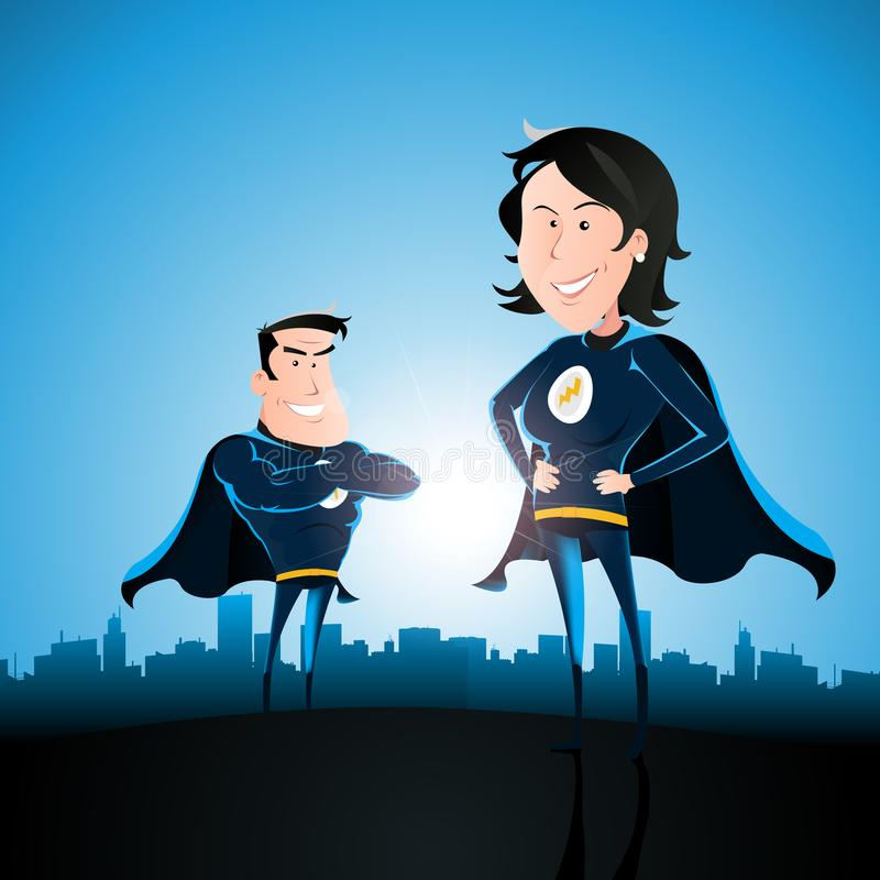 Superhero Couple With Woman And Man royalty free illustration