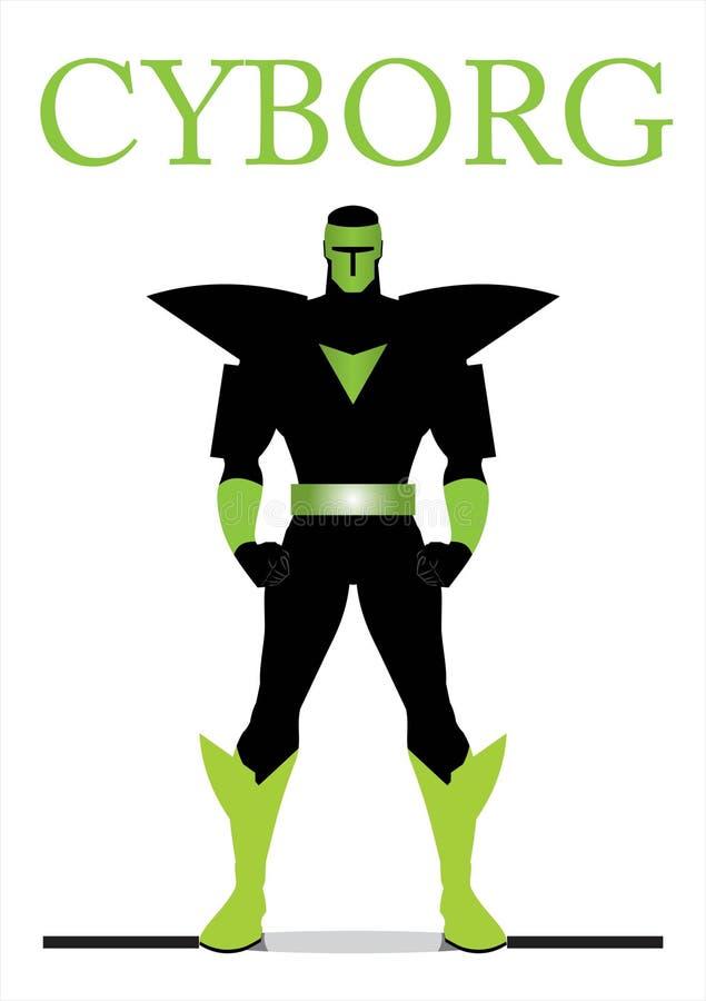 superhero cyborg bandido, brinquedo ilustração stock