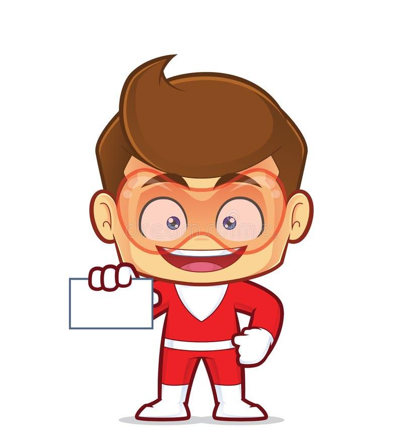 Superhero die een leeg adreskaartje houden royalty-vrije illustratie