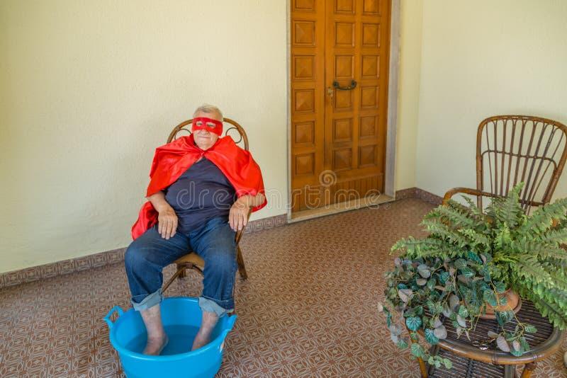 Superhero die footbath heeft royalty-vrije stock afbeeldingen