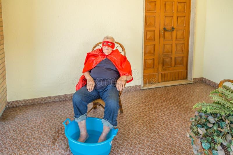 Superhero die footbath heeft royalty-vrije stock afbeelding