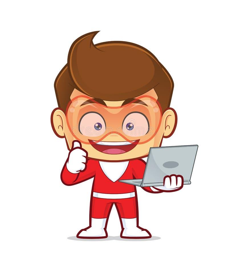 Superhero die laptop houden stock illustratie