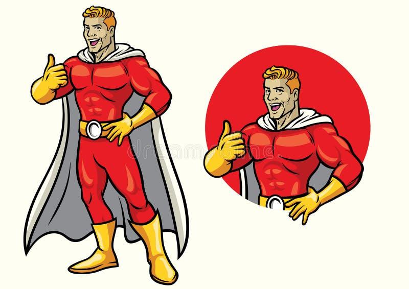 Superhero die met duim omhoog in reeks glimlachen stock illustratie