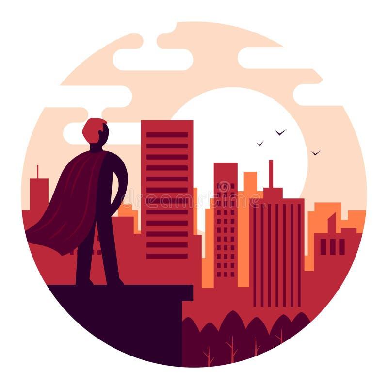 Superhero die op de zonsopgang letten tegen de achtergrond van de stad stock illustratie