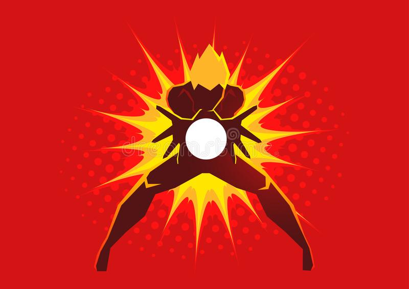 Superhero die tot een energieontploffing leiden door zijn handen stock illustratie