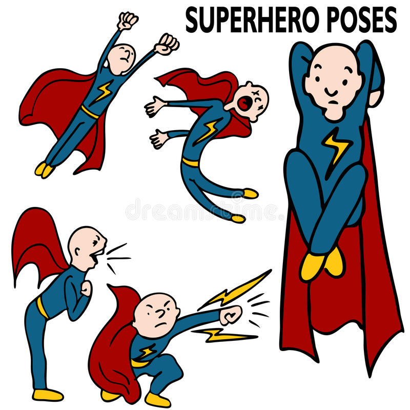 Download Superhero Drawing Set stock vector. Image of flying, hero - 16826935