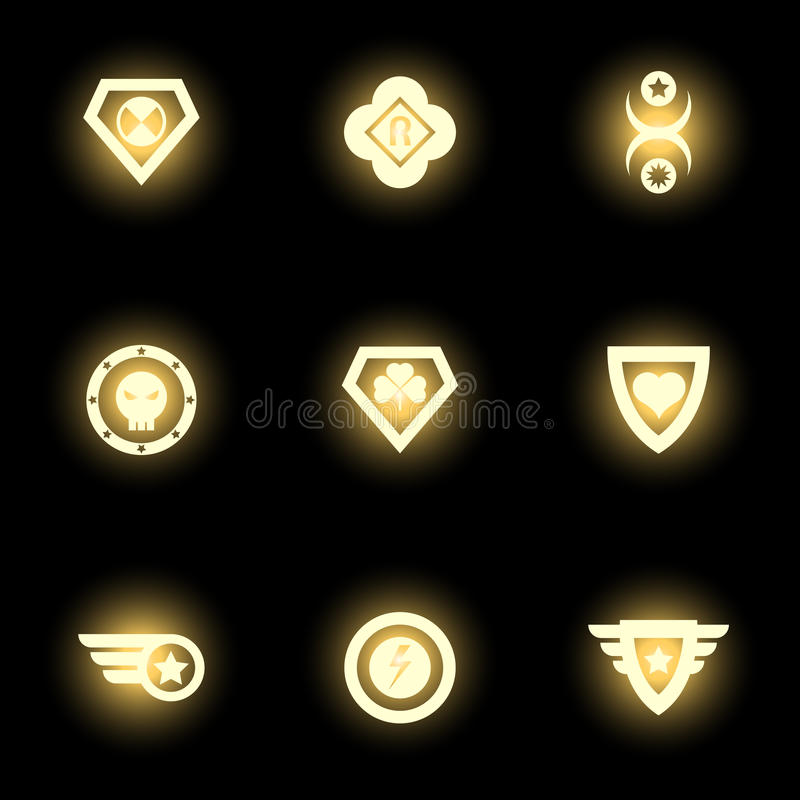 Superhero emblem, logo or icons on black backdrop royalty free illustration