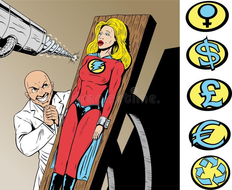 Superhero en danger. illustration de vecteur