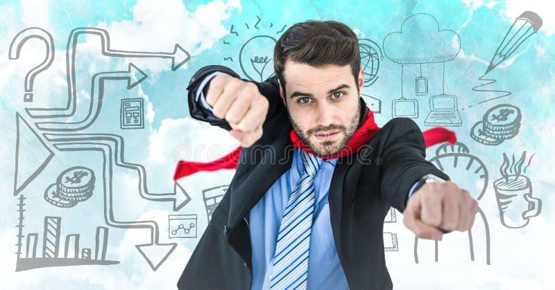 Superhero för affärsman med händer ut mot himmel och affärsklotter stock illustrationer